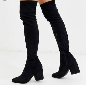 Raid black thigh high faux suede boots